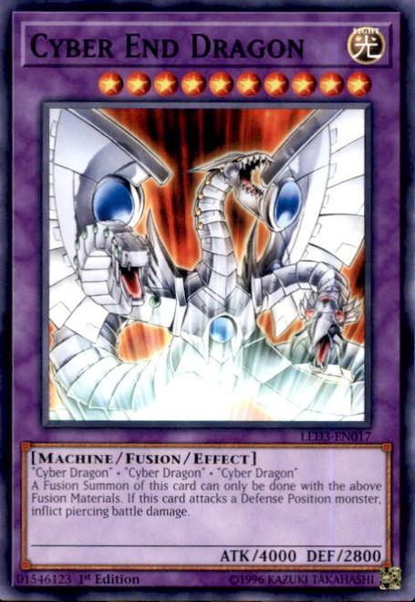YuGiOh White Dragon Abyss Common Cyber End Dragon LED3-EN017