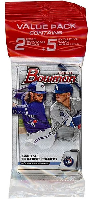 MLB Topps 2020 Bowman Baseball Trading Card VALUE Pack [2 Packs + 5 Exclusive Camo Parallel Cards]