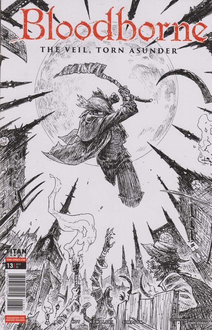 Titan Comics Bloodborne #13 The Veil, Torn Asunder Comic Book [SDCC 2019 Black & White Variant Cover]