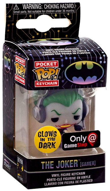 Funko DC Batman 80th Pocket POP! Heroes The Joker Exclusive Keychain [Gamer, Glow-in-the-Dark]