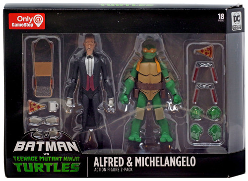 DC Teenage Mutant Ninja Turtles Batman vs TMNT Alfred & Michelangelo Exclusive Action Figure 2-Pack