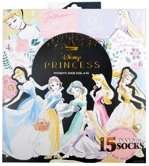 15 Days of Socks Womens Disney Princess 15-Pack [Shoe Size: 4-10]