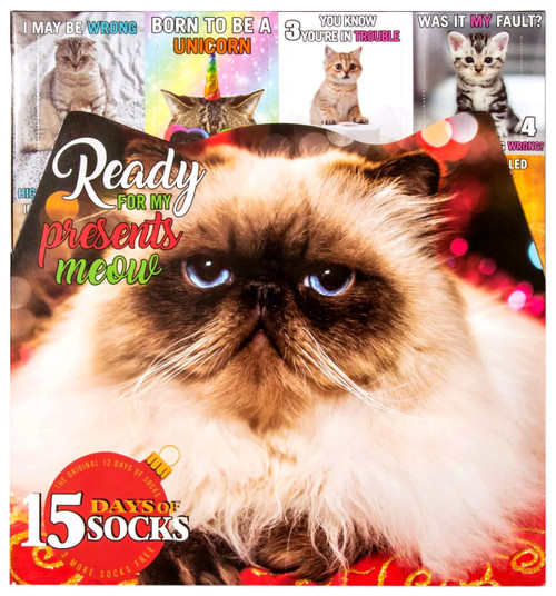 15 Days of Socks Womens Cat Lovers 15-Pack [Shoe Size 4 - 10]