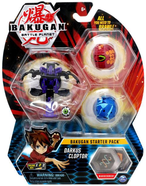 Bakugan Battle Planet Starter Pack Darkus Cloptor 3-Figure Set
