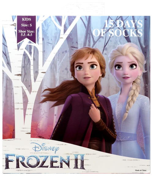 15 Days of Socks Kids Disney Frozen 2 15-Pack [Small, Shoe Size: 5.5 - 8.5]