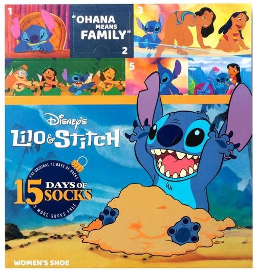 12 Days of Socks Women's Disney Lilo & Stitch 15-Pack [Shoe Size: 4 - 10]