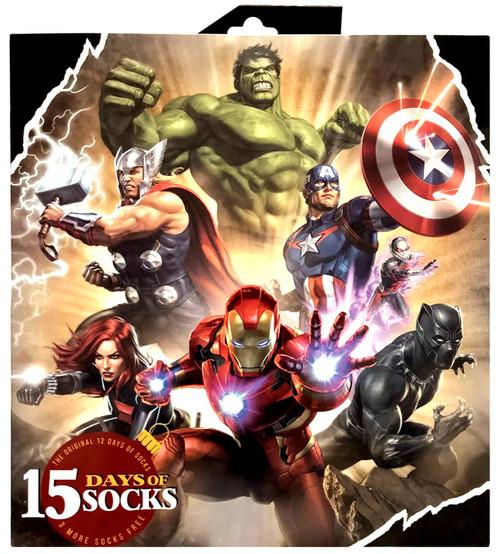 Marvel 15 Days of Socks Mens The Avengers 12-Pack [Mens Shoe Size: 6 - 12]