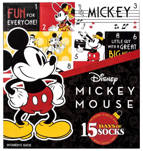15 Days of Socks Disney Womens Mickey Mouse 15-Pack [Shoe Size: 4 - 10]
