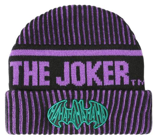 DC Batman The Joker Striped Watchman Beanie Hat
