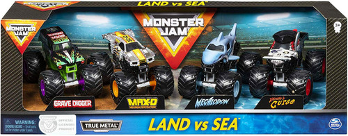 Hot Wheels Monster Jam Land & Sea Grave Digger, Max-D, Megalodon & Pirate's Curse Diecast Car 4-Pack