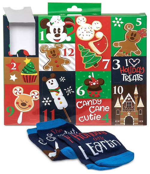 Disney 12 Days of Socks 2019 Holiday Food Exclusive Advent Calendar [Adult Shoe Size: 4 - 10]