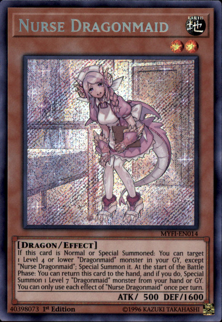 YuGiOh Mystic Fighters Secret Rare Nurse Dragonmaid MYFI-EN014
