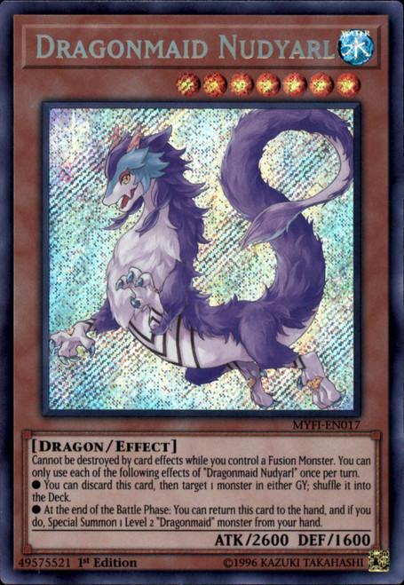YuGiOh Mystic Fighters Secret Rare Dragonmaid Nudyarl MYFI-EN017