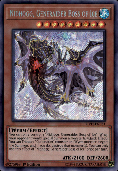 YuGiOh Mystic Fighters Secret Rare Nidhogg, Generaider Boss of Ice MYFI-EN031