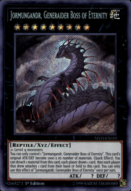 YuGiOh Mystic Fighters Secret Rare Jormungandr, Generaider Boss of Eternity MYFI-EN033