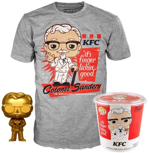 Funko KFC POP! Icons Colonel Sanders (Gold) Vinyl Figure & Tee Shirt #05 [Size Large]