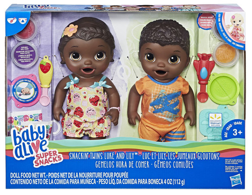 Baby Alive Super Snacks Snackin' Twins Luke & Lilly Doll Set [Black Hair]