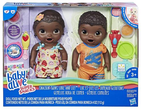 Baby Alive Super Snacks Snackin' Twins Luke & Lilly Doll Set [Black Hair]