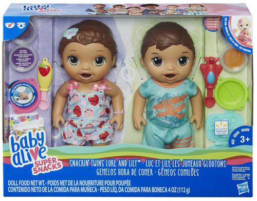 Baby Alive Super Snacks Snackin' Twins Luke & Lilly Doll Set [Brunette Hair]