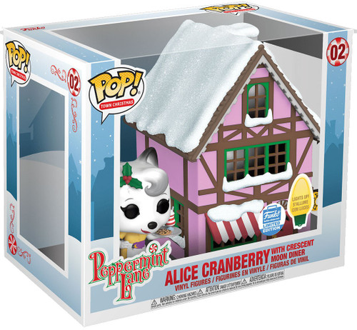 Funko Peppermint Lane POP! Town Alice Cranberry with Crescent Moon Diner Exclusive Vinyl Figure Set #02