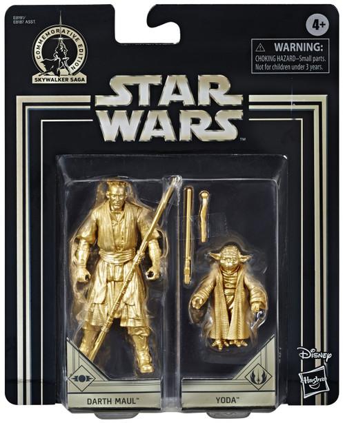 Star Wars The Phantom Menace Skywalker Saga Darth Maul & Yoda Action Figure 2-Pack [Gold Figures]