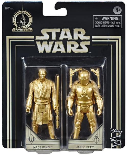 Star Wars The Empire Strikes Back Skywalker Saga Mace Windu & Jango Fett Action Figure 2-Pack [Gold Figures]