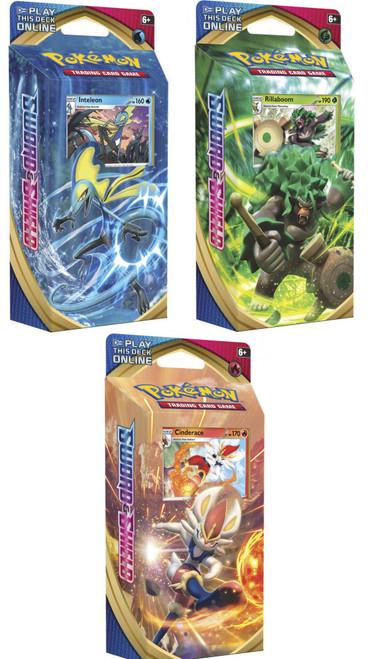 Pokemon Trading Card Game Sword & Shield Inteleon, Rillaboom & Cinderace Set of 3 Theme Decks