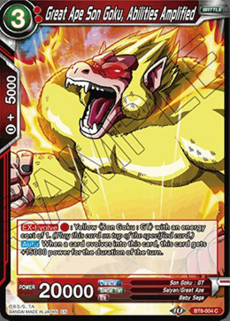 Dragon Ball Super Collectible Card Game Malicious Machinations Common Great Ape Son Goku, Abilities Amplified BT8-004