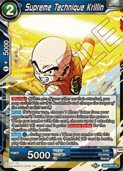 Dragon Ball Super Trading Card Game Malicious Machinations Uncommon Supreme Technique Krillin BT8-030