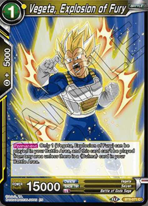 Dragon Ball Super Trading Card Game Malicious Machinations Common Vegeta, Explosion of Fury BT8-071