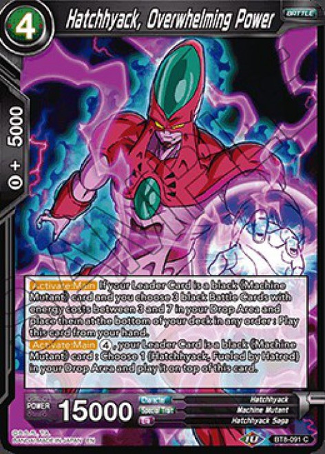 Dragon Ball Super Collectible Card Game Malicious Machinations Common Hatchhyack, Overwhelming Power BT8-091
