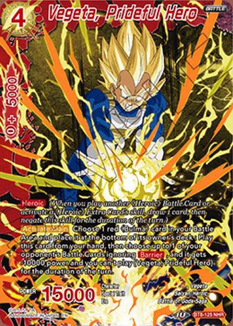 Dragon Ball Super Collectible Card Game Malicious Machinations Noble Hero Rare Vegeta, Prideful Hero BT8-125