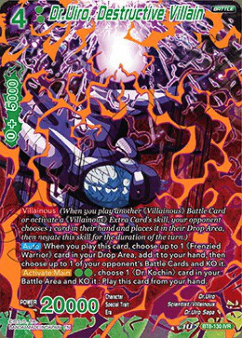 Dragon Ball Super Collectible Card Game Malicious Machinations Ignoble Villain Rare Dr.Uiro, Destructive Villain BT8-130