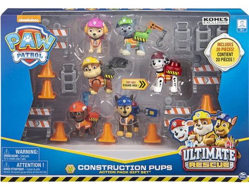 Paw Patrol Ultimate Rescue Construction Pups Chase, Marshall, Rocky, Skye, Zuma & Rubble Exclusive Gift Set Figure 6-Pack