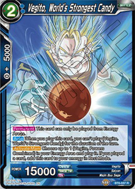 Dragon Ball Super Collectible Card Game Destroyer Kings Rare Vegito, World's Strongest Candy BT6-037
