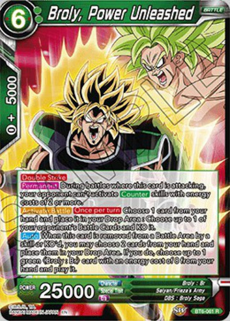 Dragon Ball Super Collectible Card Game Destroyer Kings Rare Broly, Power Unleashed BT6-061