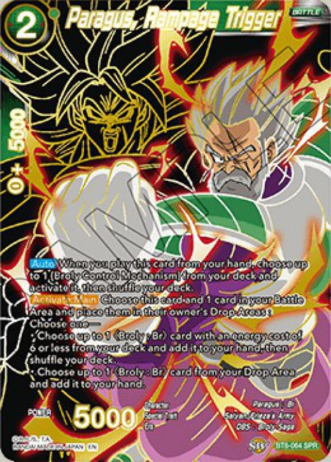 Dragon Ball Super Collectible Card Game Destroyer Kings Special Rare Paragus, Rampage Trigger BT6-064_SPR