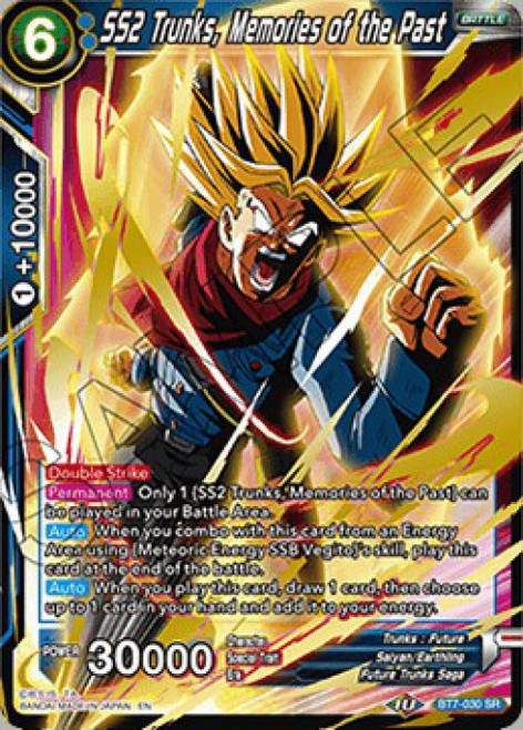 Dragon Ball Super Collectible Card Game Assault of the Saiyans Super Rare SS2 Trunks, Memories of the Past BT7-030