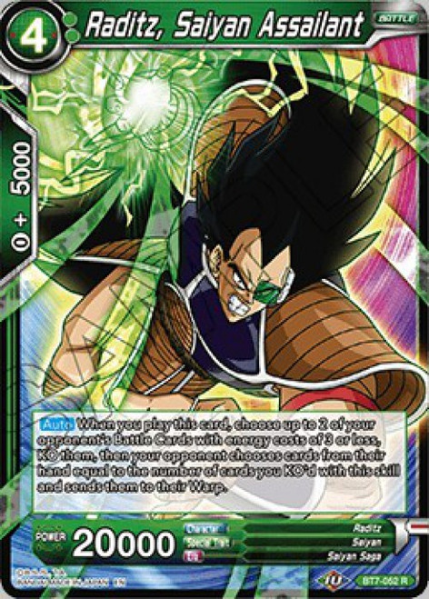 Dragon Ball Super Collectible Card Game Assault of the Saiyans Rare Raditz, Saiyan Assailant BT7-052