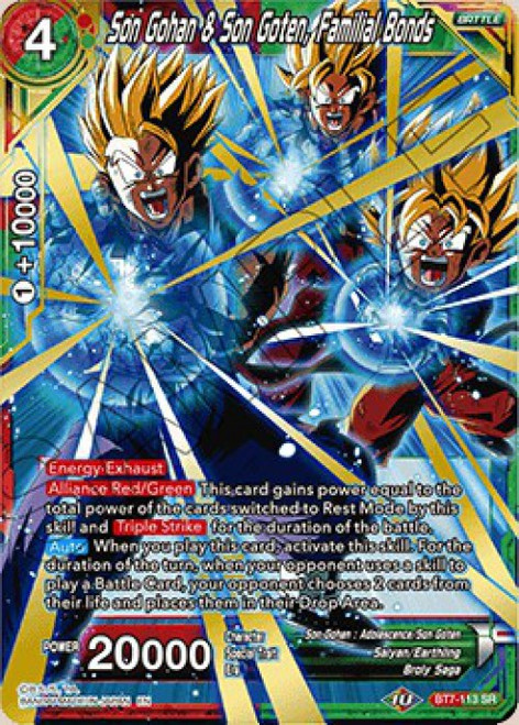 Dragon Ball Super Collectible Card Game Assault of the Saiyans Super Rare Son Gohan & Son Goten, Familial Bonds BT7-113