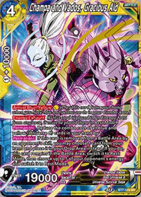 Dragon Ball Super Collectible Card Game Assault of the Saiyans Super Rare Champa and Vados, Gracious Aid BT7-119