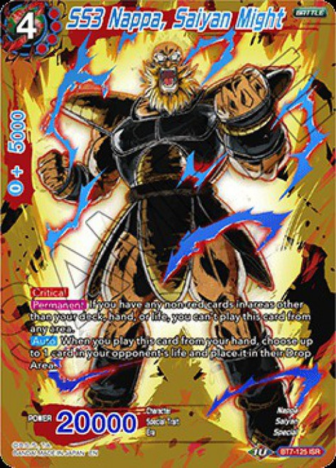 Dragon Ball Super Collectible Card Game Assault of the Saiyans Infinite Saiyan Rares SS3 Nappa, Saiyan Might BT7-125