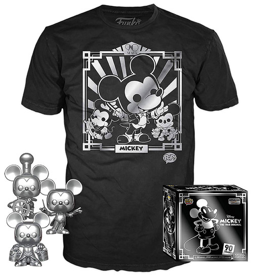 Funko Mickey The True Original POP! Disney Mickey's 90th T-Shirt & Silver Steamboat Willie, Conductor, & Apprentice Exclusive [Large]