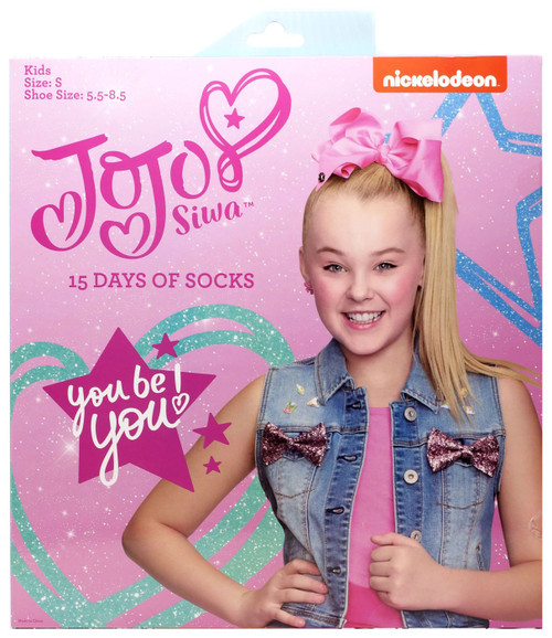 15 Days of Socks Kids JoJo Siwa 15-Pack [Size: Large, Shoe Size: 3 - 10]