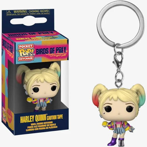 Funko DC Birds of Prey Pocket POP! Harley Quinn Keychain [Caution Tape Jacket]
