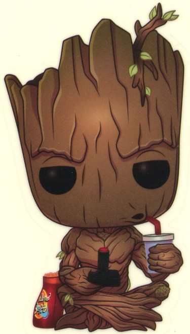 Funko Marvel Groot Exclusive Sticker [Gamer, Sitting, Glow-in-the-Dark]