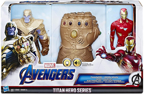 Marvel Avengers Endgame Titan Hero Series Thanos, Iron Man & Infinity Gauntlet Action Figure Set