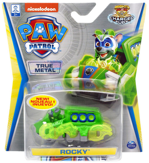 Paw Patrol Mighty Pups Charged Up True Metal Rocky Diecast Car [Mighty Pups Charged Up]
