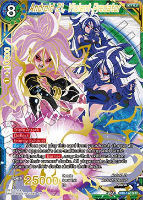 Dragon Ball Super Collectible Card Game Malicious Machinations Special Rare Android 21, Violent Predator BT8-122 SPR