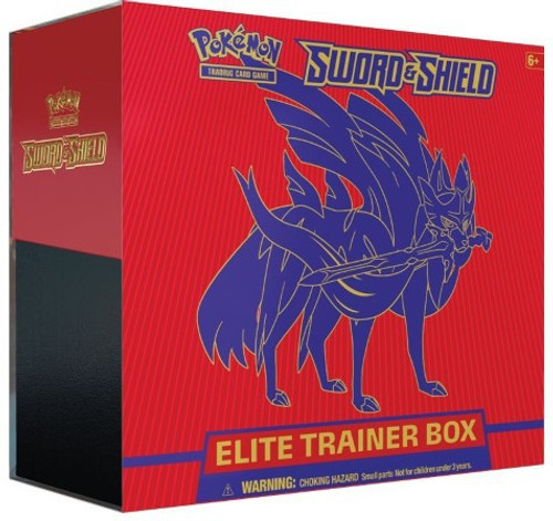 Pokemon Trading Card Game Sword & Shield Zacian Elite Trainer Box [8 Booster Packs, 65 Card Sleeves, 45 Energy Cards & More]